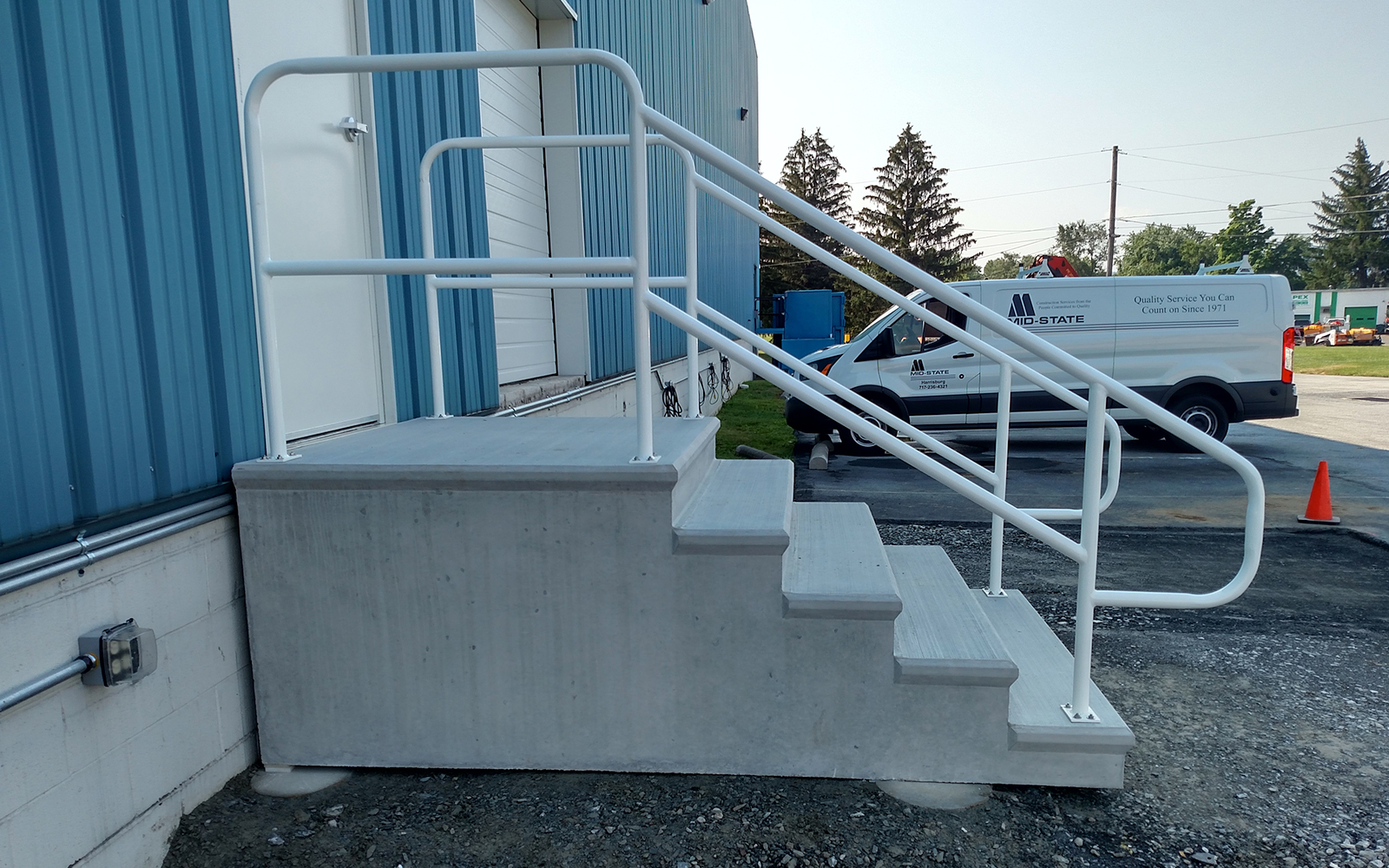 white-powder-coated-stair-railing